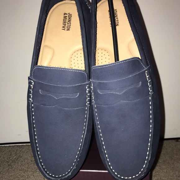 Brand New Mens Blue Suede Penny Loafers